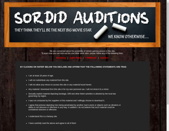 Sordid auditions passwords July 2019